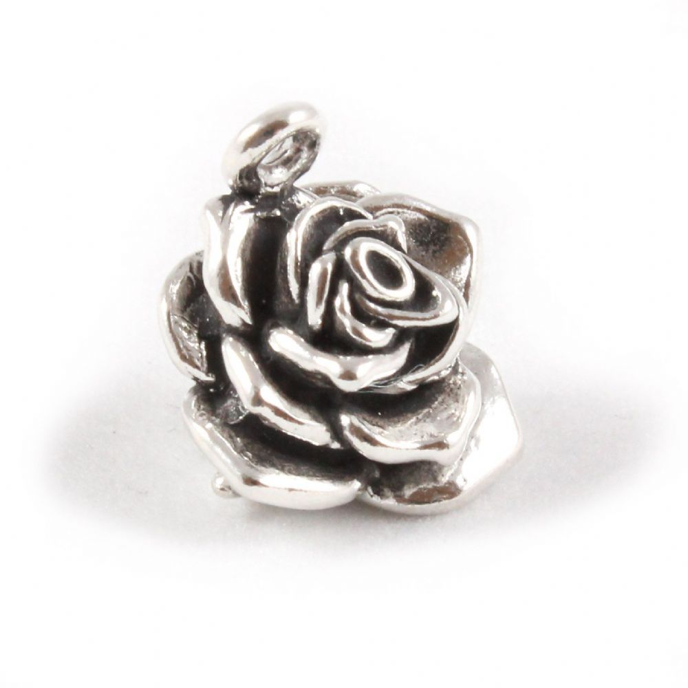 Charm School UK Sterling Silver Charms Plantlife Rose Flower